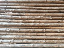 Retaining Wall of Stacked Logs Stock Image