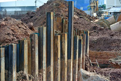 Retaining wall steel sheet pile Royalty Free Stock Images