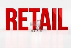 Retalho vermelho grande da palavra no fundo branco ao lado do carrinho de compras Foto de Stock Royalty Free