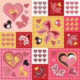 Retalhos coloridos com corações e borboleta Teste padrão sem emenda Elementos de brilho dourados Série de Scrapbooking Foto de Stock