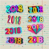 Retalhos criativos dos adolescentes com projeto do pino do número do ano novo 2018 Cores do pop art ilustração stock