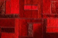 Retalhos de couro reais vermelhos Fotos de Stock