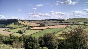 Retalhos de Inglaterra dos campos de exploração agrícola que cultivam a terra Foto de Stock Royalty Free