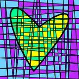 Retalhos telhados coloridos do coração Tecelagem colorida do lote fotografia de stock royalty free