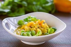 Retarde o guisado de galinha cozinhado com vegetais, refeição saudável no restaurante Fotografia de Stock Royalty Free