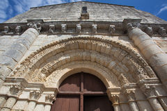 Retaud church. Archivolts detail in the  main entrance of the romanesque Retaud church,Charente, France Stock Photos