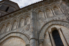 Retaud church detail. Archery detail of the romanesque Retaud church,Charente, France Royalty Free Stock Images