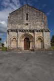 Retaud church. Full facade view of  the romanesque Retaud church,Charente, France Royalty Free Stock Images