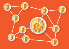 Rete alla moda del bitcoin Fotografia Stock