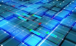 Rete astratta di Blockchain di concetto Tecnologia di Fintech illustrazione vettoriale