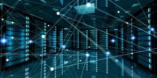 Rete astratta sulla rappresentazione del centro dati 3D della stanza del server Fotografia Stock