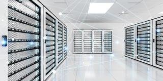 Rete astratta sulla rappresentazione del centro dati 3D della stanza del server Immagine Stock Libera da Diritti