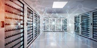 Rete astratta sulla rappresentazione del centro dati 3D della stanza del server Fotografia Stock Libera da Diritti