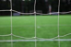 Rete bianca di calcio ed erba verde Fotografia Stock