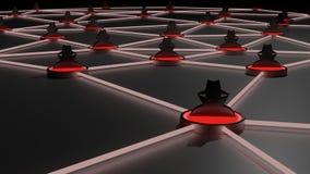 Rete black hat di cybersecurity insicuro della rete Illustrazione di Stock