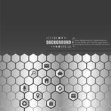 Rete creativa astratta di esagono di vettore di concetto con l'icona isolata su fondo per il web, cellulare App Illustrazione di  Fotografie Stock Libere da Diritti
