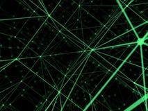 Rete cyber del mondo del collegamento del cubo di tecnologia futuristica, computer, cavi ottici virtuali della fibra, collegament Immagini Stock