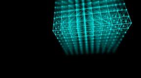 Rete cyber del mondo del collegamento del cubo di tecnologia futuristica, computer, cavi ottici virtuali della fibra, collegament Fotografie Stock Libere da Diritti