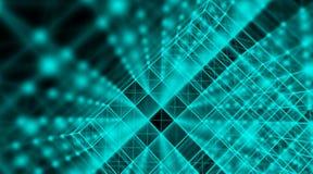 Rete cyber del mondo del collegamento del cubo di tecnologia futuristica, computer, cavi ottici virtuali della fibra, collegament Immagini Stock Libere da Diritti