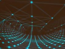 Rete cyber del mondo del collegamento della sfera di tecnologia futuristica, computer, cavi ottici virtuali della fibra, collegam Immagini Stock