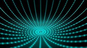 Rete cyber del mondo del collegamento della sfera di tecnologia futuristica, computer, cavi ottici virtuali della fibra, collegam Fotografia Stock