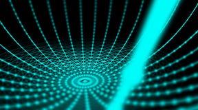 Rete cyber del mondo del collegamento della sfera di tecnologia futuristica, computer, cavi ottici virtuali della fibra, collegam Fotografie Stock