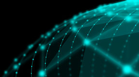 Rete cyber del mondo del collegamento della sfera di tecnologia futuristica, computer, cavi ottici virtuali della fibra, collegam Immagine Stock Libera da Diritti