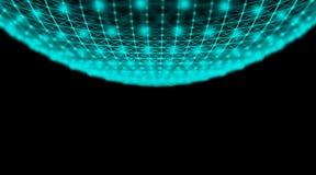 Rete cyber del mondo del collegamento della sfera di tecnologia futuristica, computer, cavi ottici virtuali della fibra, collegam Immagini Stock Libere da Diritti