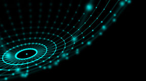 Rete cyber del mondo del collegamento della sfera di tecnologia futuristica, computer, cavi ottici virtuali della fibra, collegam Fotografie Stock Libere da Diritti