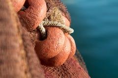 Rete da pesca con i galleggianti, mare nel fondo Fotografia Stock Libera da Diritti