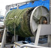 Rete da pesca della senna di borsa sulla bobina Fotografia Stock Libera da Diritti