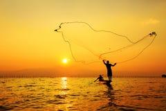 Rete da pesca di lancio Fotografie Stock