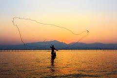 Rete da pesca di lancio Fotografia Stock