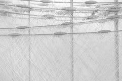 Rete da pesca su un bordo grigio del fondo grigio Fotografia Stock