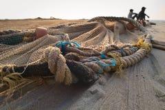 Rete da pesca sulla spiaggia Fotografia Stock
