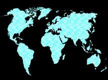 Rete del collegamento della mappa di mondo Fotografia Stock Libera da Diritti