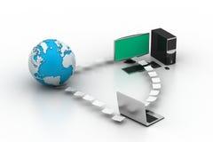 Rete del computer con il globo Illustrazione di Stock