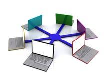 Rete del computer portatile Fotografia Stock