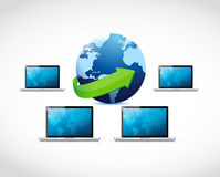Rete del computer portatile collegata al mondo. Fotografia Stock