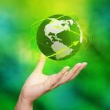rete del globo della terra 3d Immagini Stock