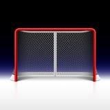 Rete del hockey su ghiaccio, scopo sul nero Fotografia Stock Libera da Diritti