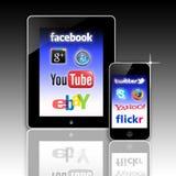 Rete del social di comunicazioni su mezzi mobili Fotografia Stock