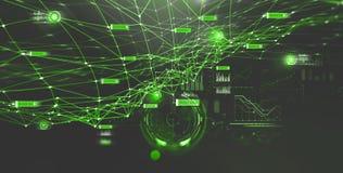 Rete della catena di blocco e concetto di programmazione Intelligenza artificiale globale Ologramma della rete neurale royalty illustrazione gratis
