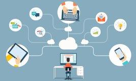 Rete della nuvola di vettore per l'affare che lavora online Immagine Stock