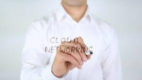 Rete della nuvola, scrittura dell'uomo sul vetro, scritto a mano Fotografia Stock Libera da Diritti