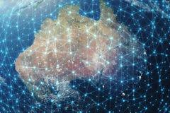 rete della rappresentazione 3D e pianeta Terra eccessivo dello scambio dei dati nello spazio Linee del collegamento intorno al gl illustrazione di stock