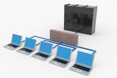 Rete di calcolatore con il server e la parete refrattaria Fotografia Stock