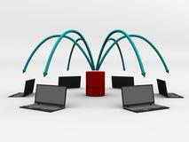 Rete di calcolatore nel disegno digitale Immagine Stock