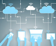 Rete di carta di calcolo dei dispositivi del ritaglio BYOD della nuvola Immagine Stock