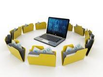 Rete di computer, comunicazione di Internet, isolata nel fondo bianco rappresentazione 3d Fotografie Stock Libere da Diritti